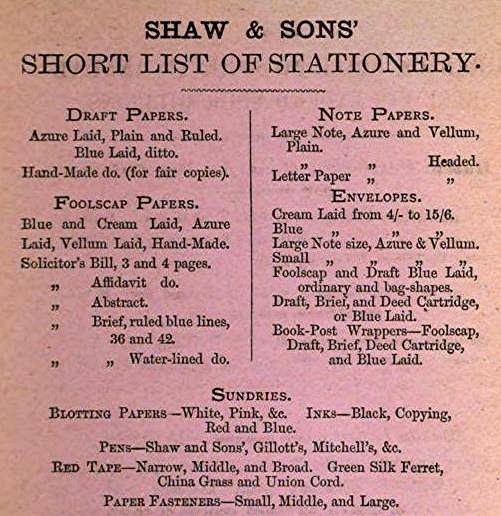 1880 Shaw's Sundries including red tape and green ferret small.jpg (55926 bytes)