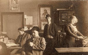 1913 Office with Calendars Advertising Brick and Lumber Companies OM.jpg (137029 bytes)